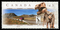 Dinosaur Trail, Alberta Canada Postage Stamp | Scenic Highways