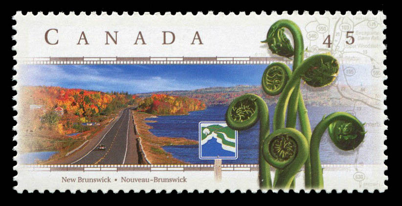 River Valley Scenic Drive, New Brunswick Canada Postage Stamp | Scenic Highways