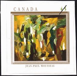 Jet fuligineux sur noir torture, Jean-Paul Mousseau Canada Postage Stamp | The Automatistes