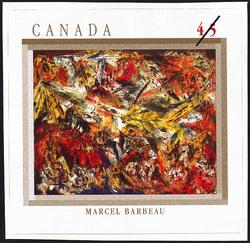 Le tumulte a la machoire crispee, Marcel Barbeau Canada Postage Stamp | The Automatistes