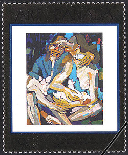 The Farmer's Family (detail), 1970, Bruno Bobak Canada Postage Stamp | Masterpieces of Canadian Art