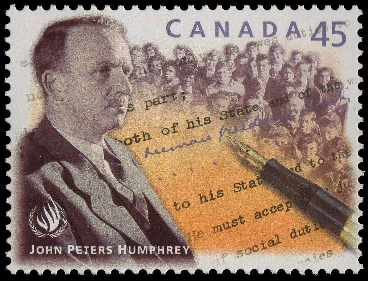 John Peters Humphrey - Universal Declaration of Human Rights Canada Postage Stamp