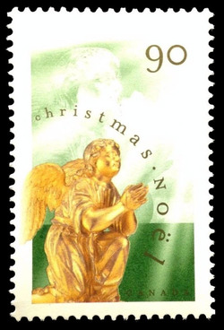Adoring Angel Kneeling by Thomas Baillarge Canada Postage Stamp | Christmas, Angels