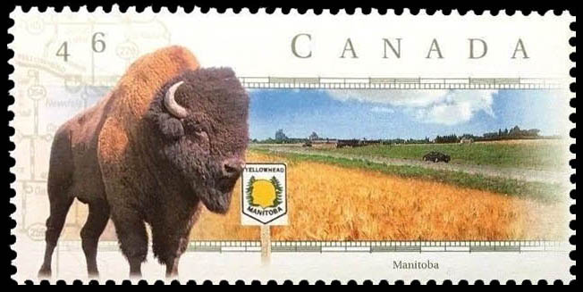 Yellowhead Highway, Manitoba Canada Postage Stamp | Scenic Highways