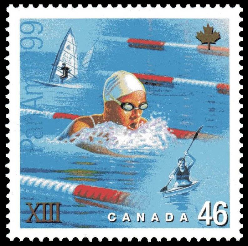 Swimming, Windsurfing, Kayaking Canada Postage Stamp | Pan American Games