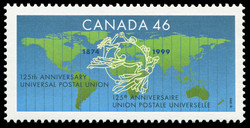 Universal Postal Union, 125th Anniversary, 1874-1999 Canada Postage Stamp