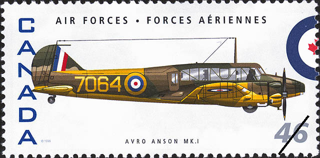Avro Anson MK.I Canada Postage Stamp | Air Forces