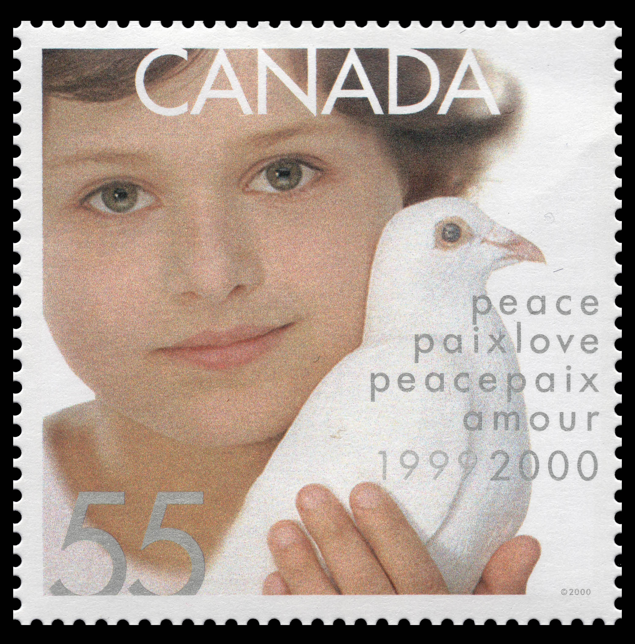 Child Holding Dove - Peace and Love - Millennium Canada Postage Stamp