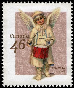 Angel Beating a Drum Canada Postage Stamp | Christmas, Victorian Angels