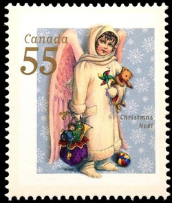 Angel Carrying a Teddy Bear and a Small Sack of Toys Canada Postage Stamp | Christmas, Victorian Angels