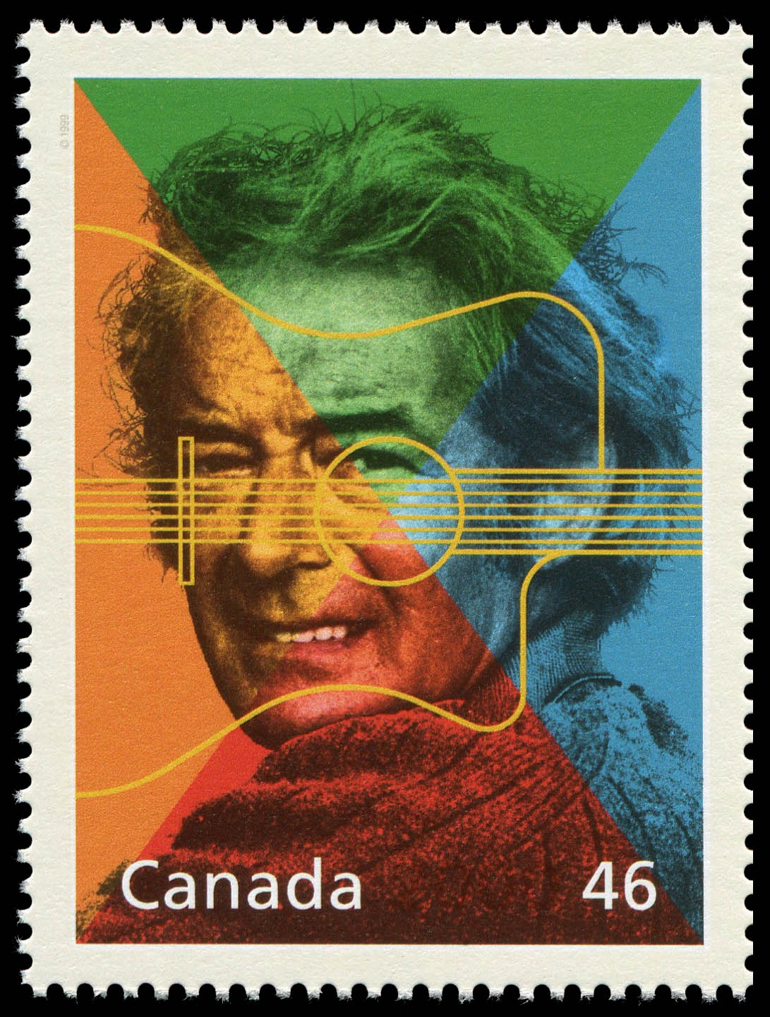 Felix Leclerc: Father of Quebec's New Song Canada Postage Stamp | The Millennium Collection, Extraordinary Entertainers