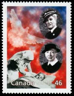Pauline Vanier and Elizabeth Smellie: The Humanitarian Work of Women in Time of War Canada Postage Stamp | The Millennium Collection, Humanitarians and Peacekeepers