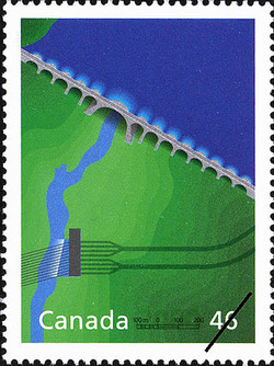 Manic Dams: Triumph of Quebec Engineering Canada Postage Stamp | The Millennium Collection, Engineering and Technological Marvels