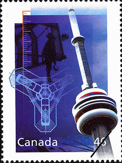 CN Tower - Canada's National Tower Canada Postage Stamp | The Millennium Collection, Engineering and Technological Marvels