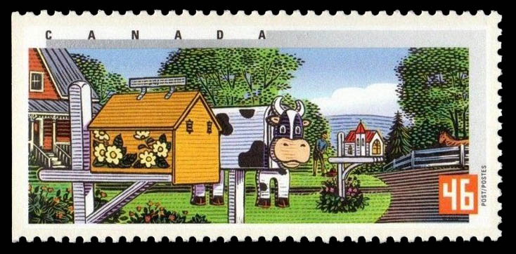 Spring in Ontario Canada Postage Stamp   Rural Mailboxes