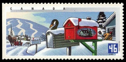 Winter in Quebec Canada Postage Stamp | Rural Mailboxes