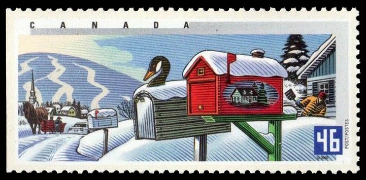 Winter in Quebec Canada Postage Stamp