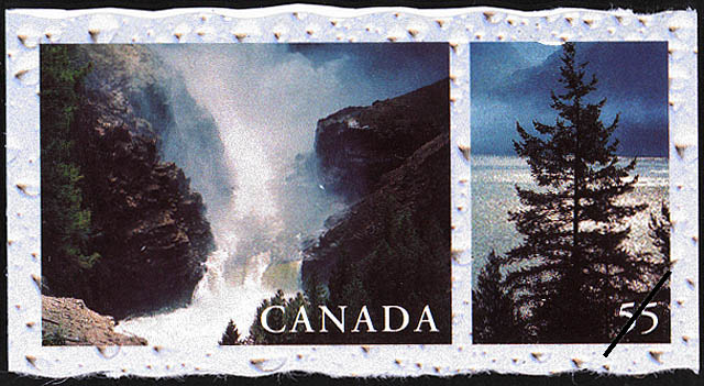 Helmcken Falls, Wells Gray Park, British Columbia, Howe Sound, between Vancouver and Squamish, British Columbia Canada Postage Stamp | Fresh Waters of Canada