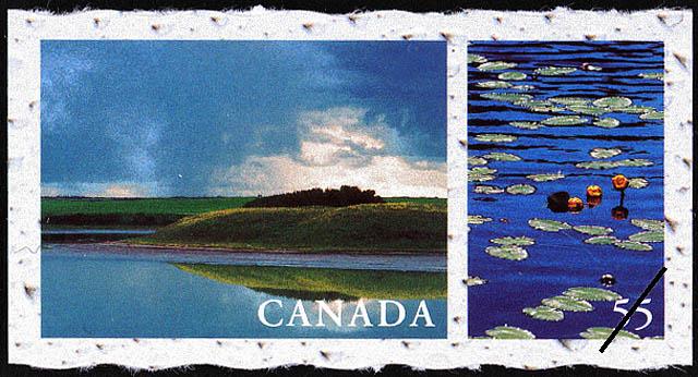 Unnamed Lake near Baldwinton, west of Battleford, Saskatchewan, Waterlilies, Saskatchewan Canada Postage Stamp | Fresh Waters of Canada
