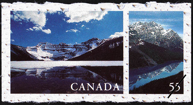Cameron Lake, Waterton Lakes National Park, Alberta, Peyto Lake, Banff National Park, Alberta Canada Postage Stamp | Fresh Waters of Canada