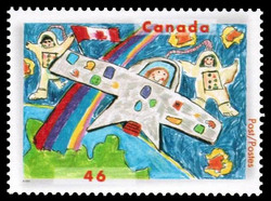 Astronauts in Space, a Rainbow and a Canadian Flag Canada Postage Stamp | Stampin' the Future