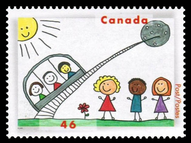 Three People about to Travel from Earth to a Distant Planet viaMonorail Canada Postage Stamp | Stampin' the Future