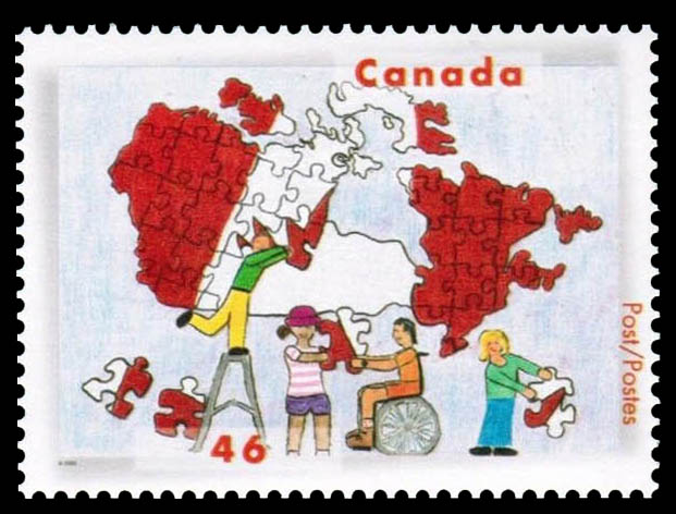 Children of Different Races Putting a Jigsaw Puzzle Map of Canada Together Canada Postage Stamp