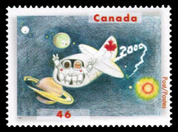 Two Space Travellers, one White, one Black, Seated Side-by-sidein a Space Vehicle, Flashing the Peace Sign Canada Postage Stamp | Stampin' the Future