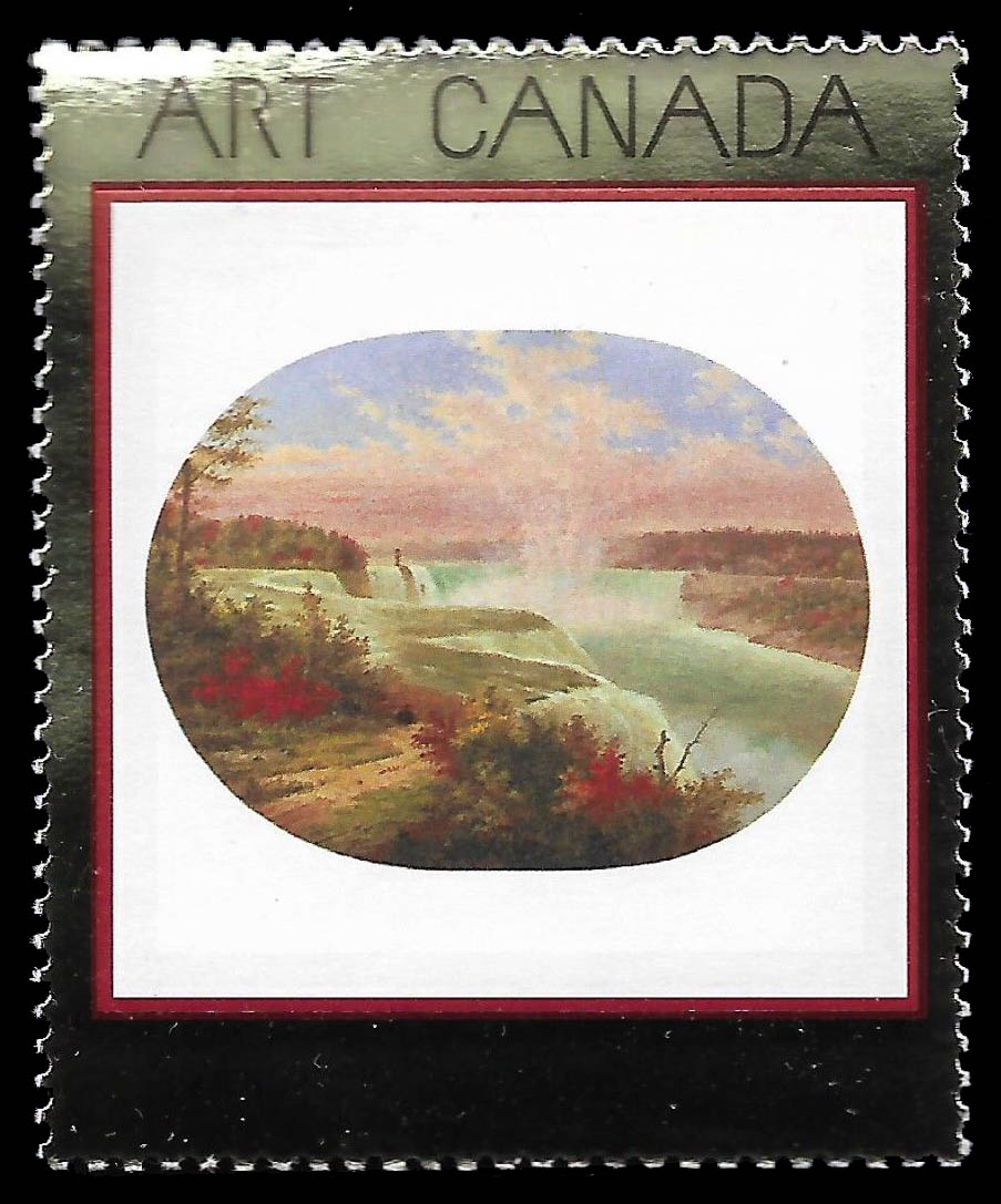 The Artist at Niagara, 1858, Cornelius Krieghoff Canada Postage Stamp | Masterpieces of Canadian Art