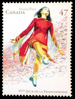 Folk Dancer Canada Postage Stamp | IV Games of La Francophonie