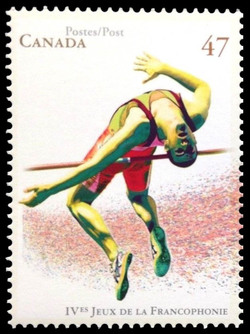 High-jumper Canada Postage Stamp | IV Games of La Francophonie