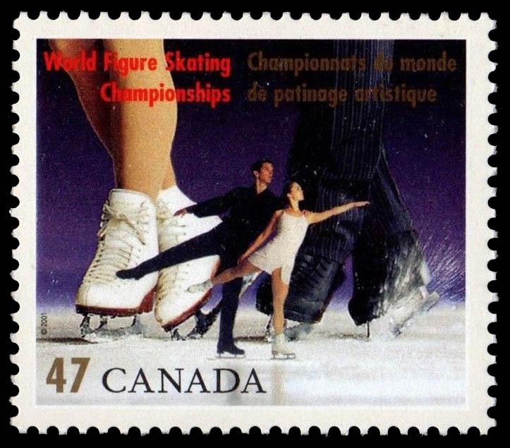 Pairs Canada Postage Stamp   World Figure Skating Championships