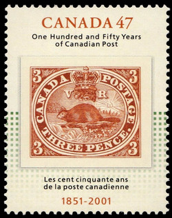 One Hundred and Fifty Years of Canadian Post, 1851-2001 Canada Postage Stamp