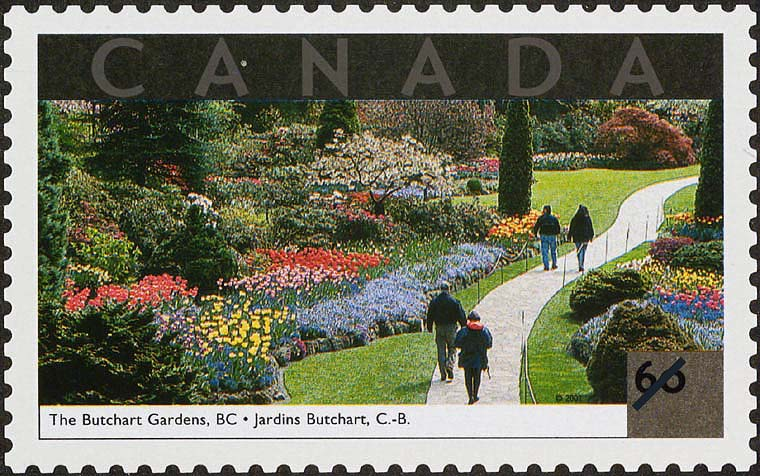The Butchart Gardens, British Columbia Canada Postage Stamp | Tourist Attractions