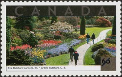 The Butchart Gardens, British Columbia Canada Postage Stamp   Tourist Attractions