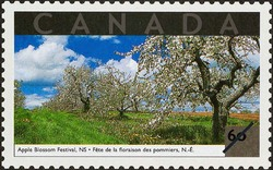 Apple Blossom Festival, Nova Scotia Canada Postage Stamp | Tourist Attractions