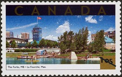 The Forks, Manitoba Canada Postage Stamp | Tourist Attractions