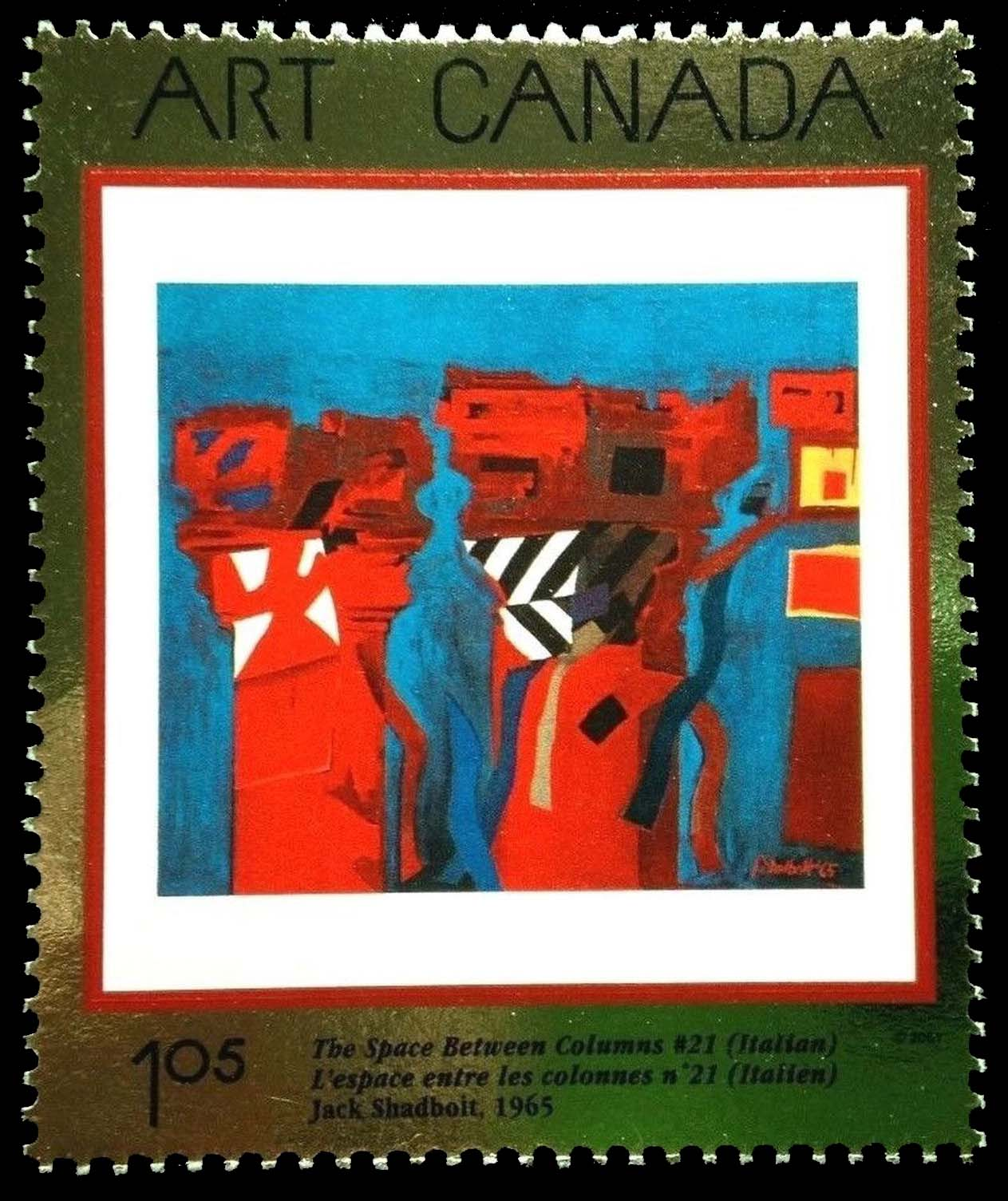 The Space Between Columns #21 (Italian), 1965, Jack Shadbolt Canada Postage Stamp | Masterpieces of Canadian Art