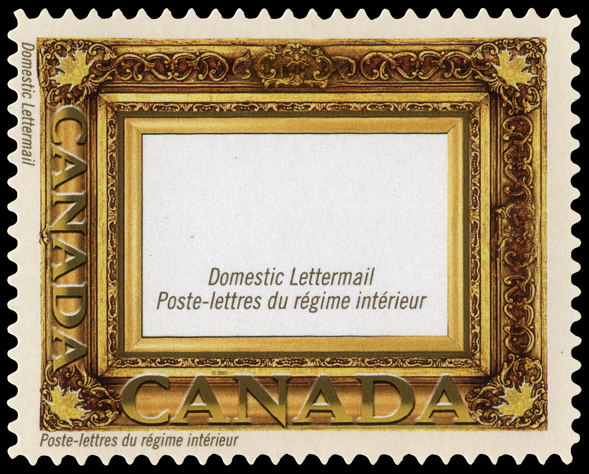 Gold Leaf Frame - Canada Postage Stamp | Greeting Stamps
