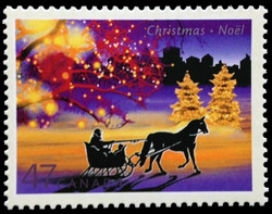 Sleigh Ride in an Urban Landscape Canada Postage Stamp | Christmas Lights