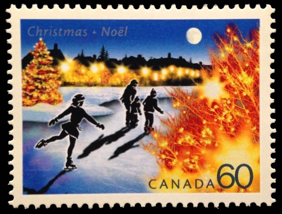 Skating in the Suburbs Canada Postage Stamp | Christmas Lights