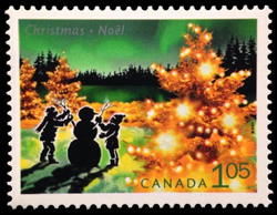 Building a Snowman in the Country Canada Postage Stamp | Christmas Lights
