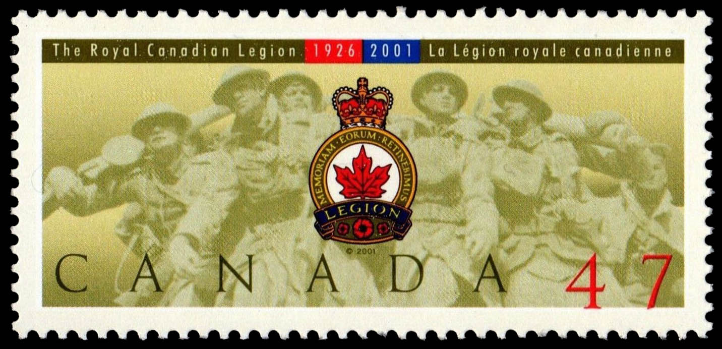 The Royal Canadian Legion, 1926-2001 Canada Postage Stamp