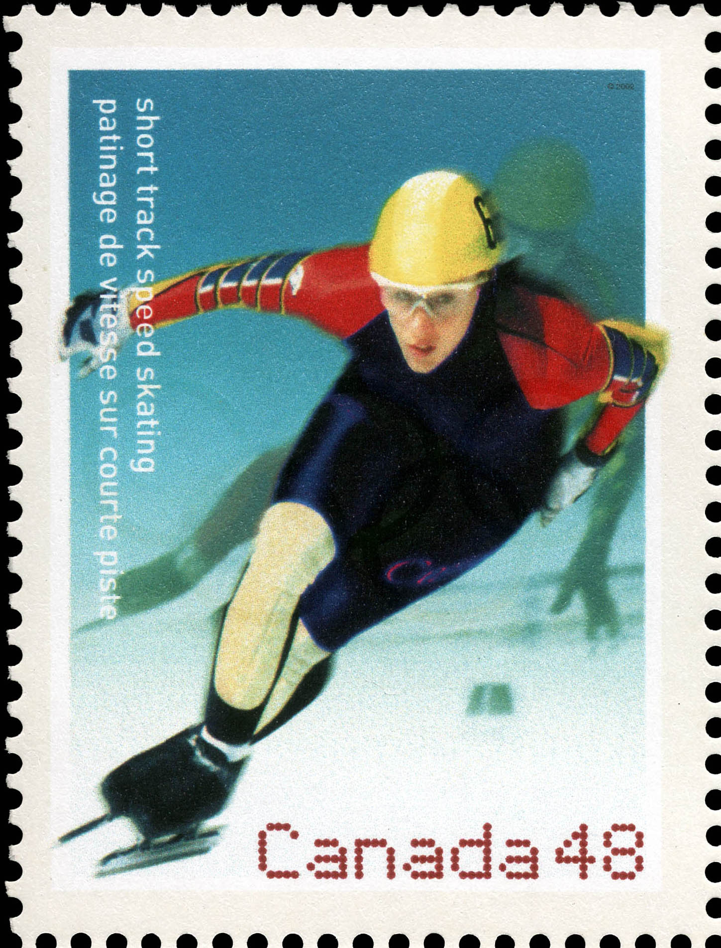 Short Track Speed Skating Canada Postage Stamp | 2002 Olympic Winter Games