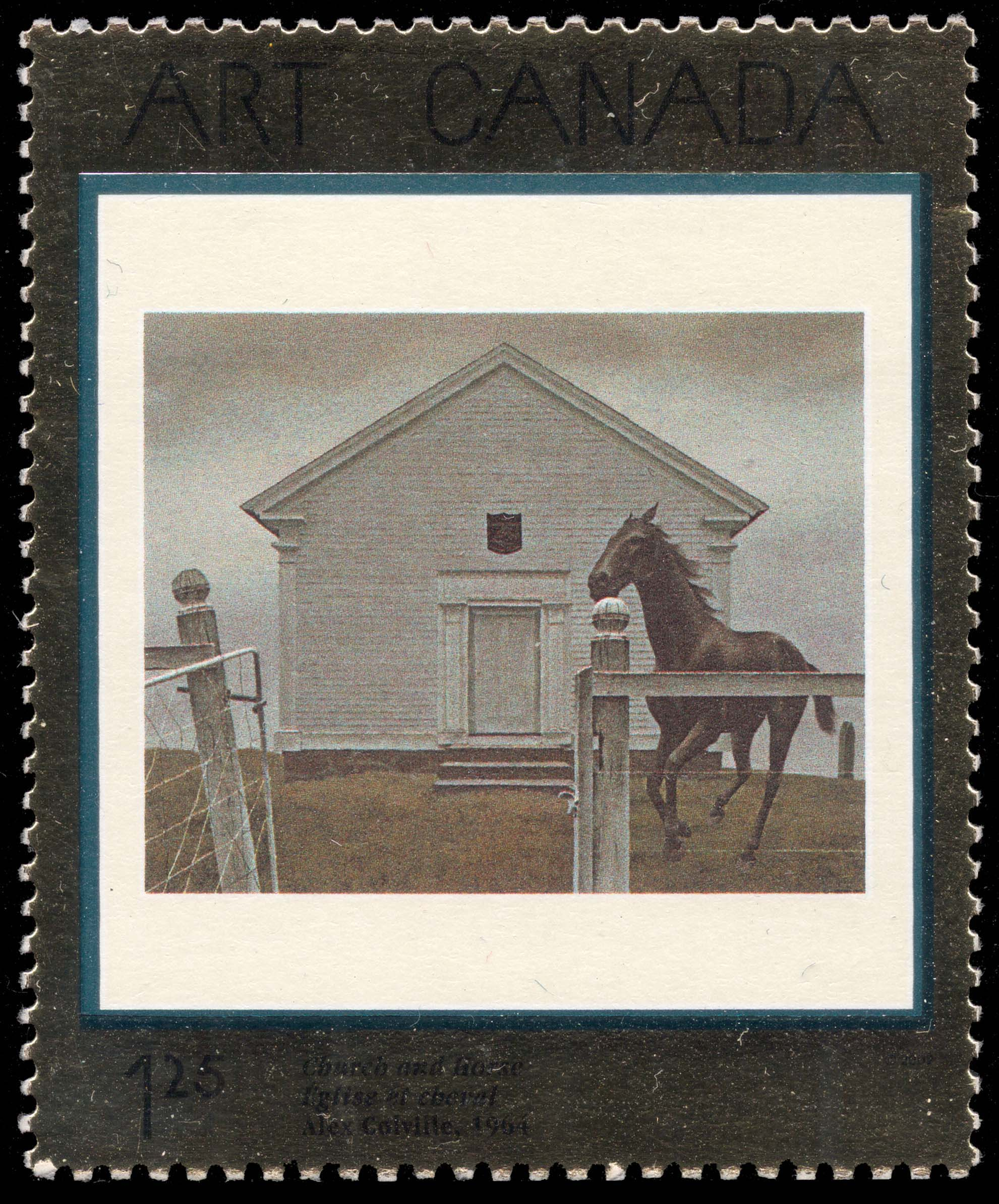 Church and Horse, 1964, Alex Colville Canada Postage Stamp | Masterpieces of Canadian Art