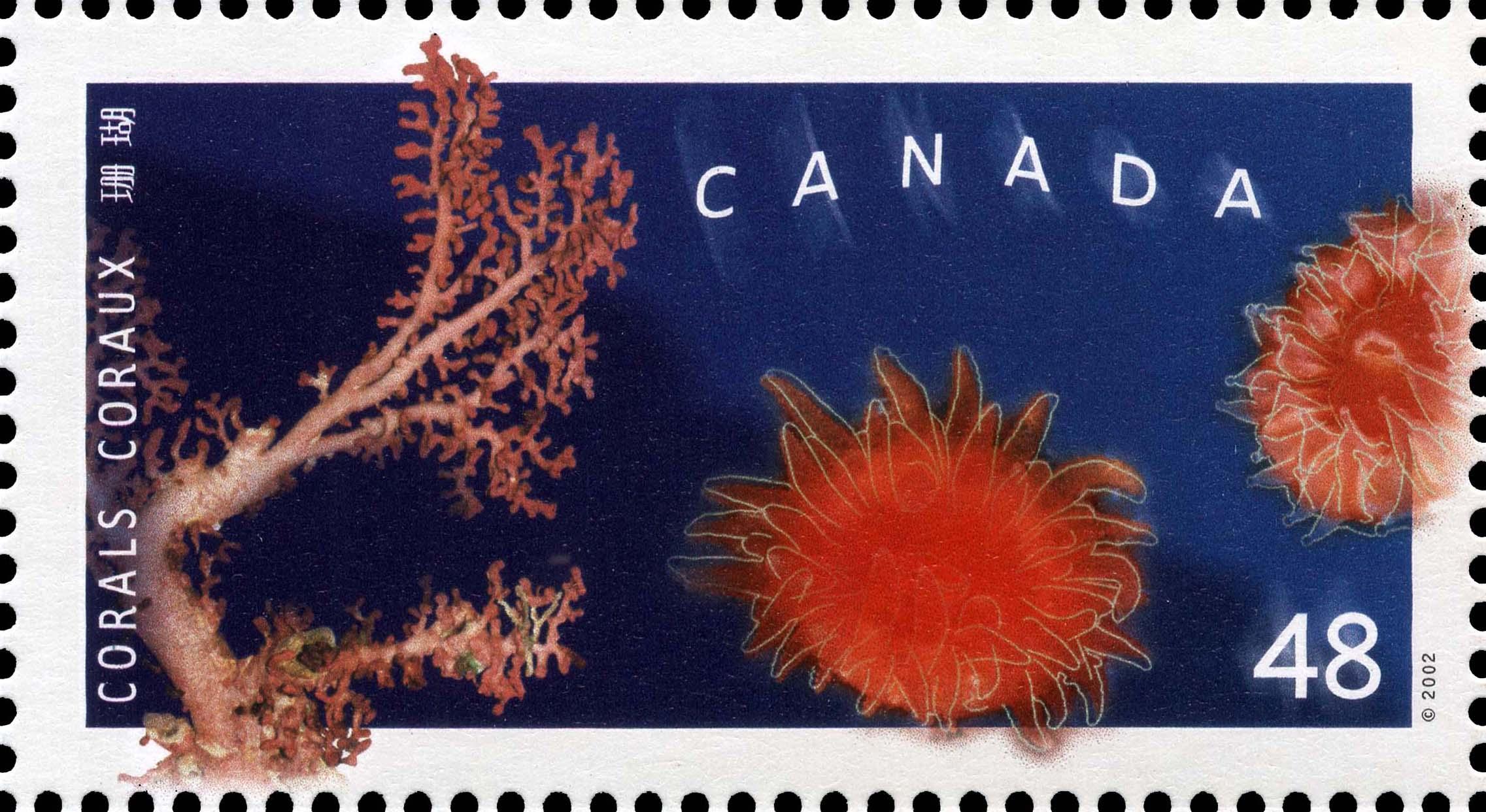 Paragorgia arborea, Balanophyllia elegans and Carophylliaalaskensis Canada Postage Stamp | Corals