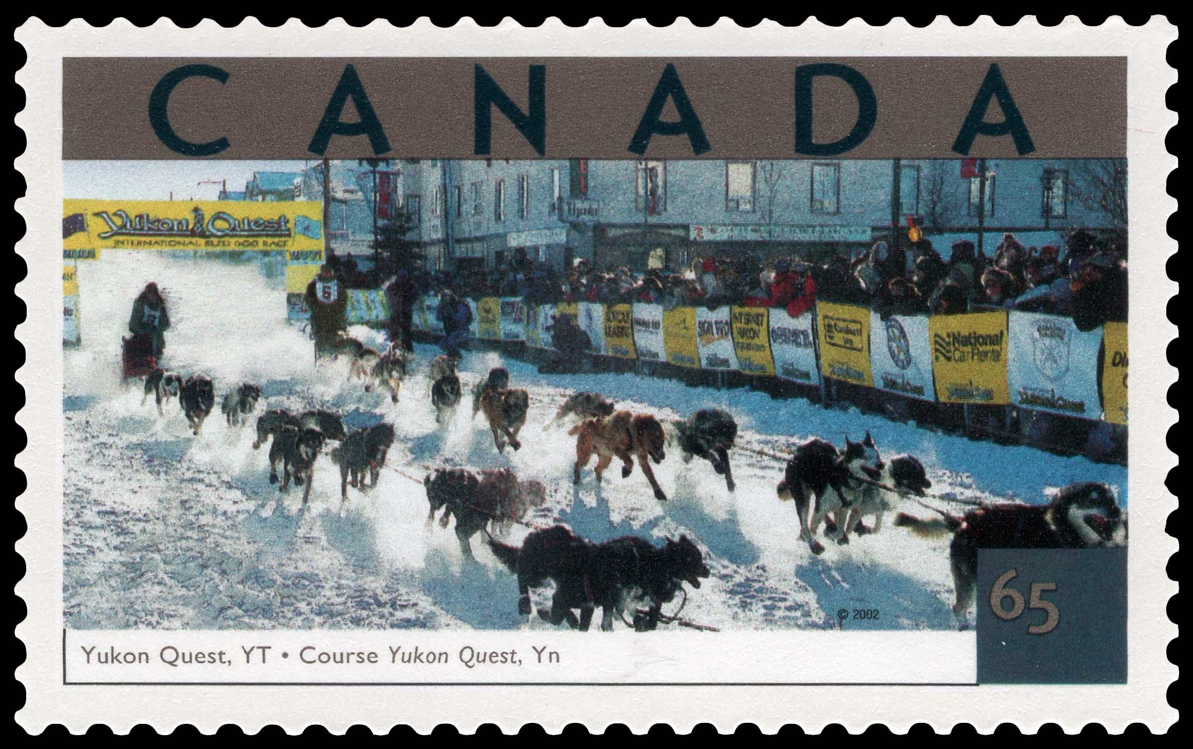 Yukon Quest, Yukon Canada Postage Stamp | Tourist Attractions