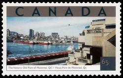 The Historic Old Port of Montreal, Quebec Canada Postage Stamp | Tourist Attractions