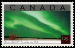Northern Lights, Northwest Territories Canada Postage Stamp | Tourist Attractions