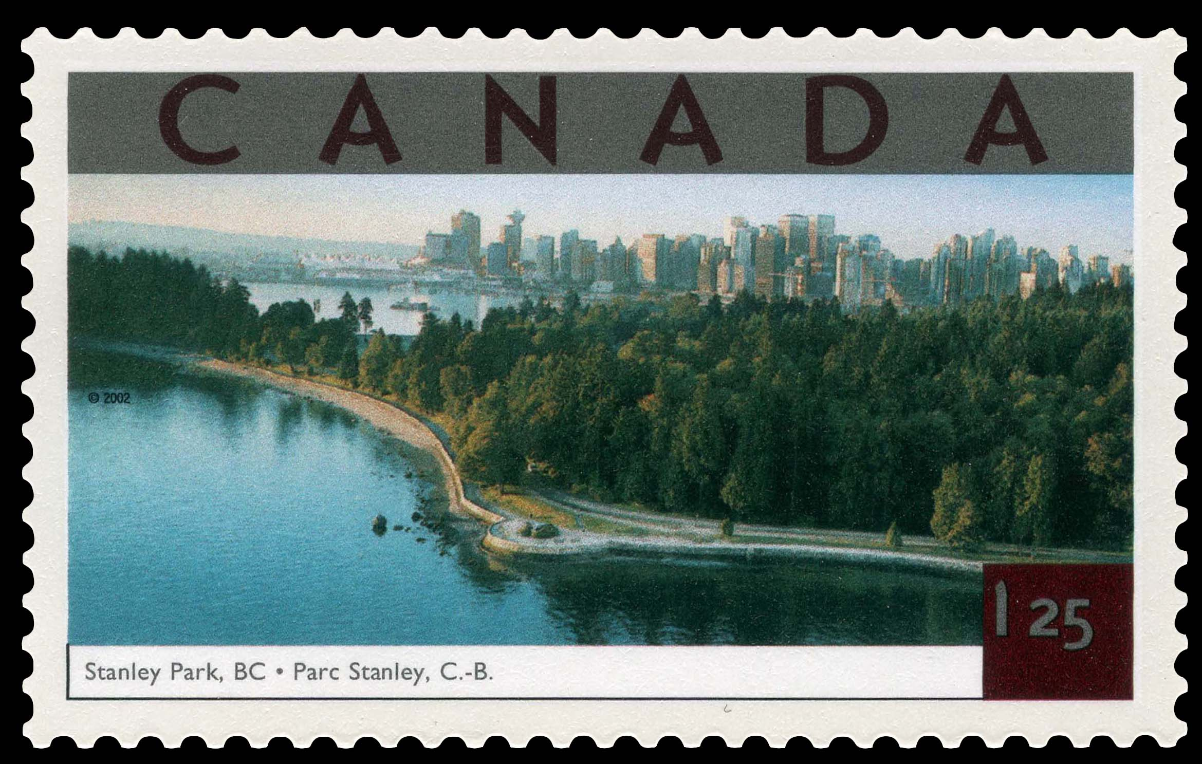 Stanley Park, British Columbia Canada Postage Stamp | Tourist Attractions